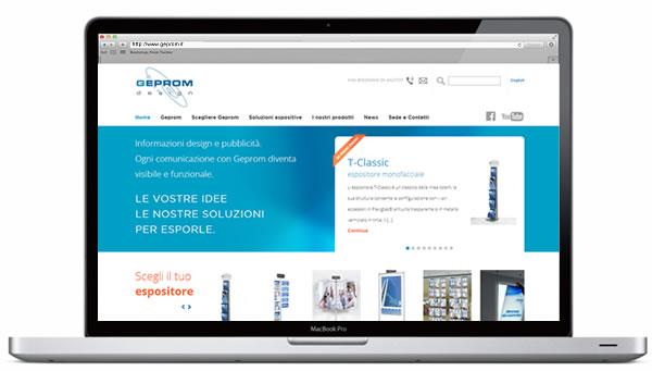 layout grafico del sito web Geprom per presentare tutti i prodotti e le soluzioni espositive